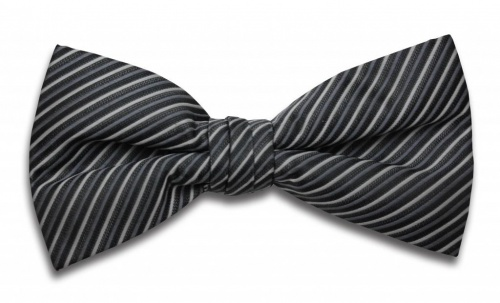 Polyester Pre-Tied Grey and Black Bow Tie with Diagonal Stripe Design